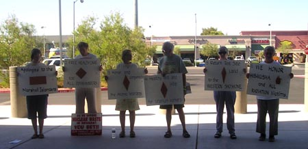NDE members vigil outside the Atomic Testing Museum